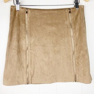 Dynamite Vegan Suede Double Zipper Tan Mini Skirt